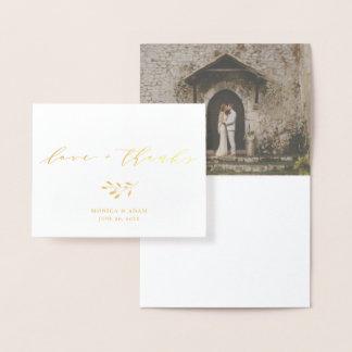 Carte Dorée Merci moderne chic de mariage de manuscrit