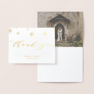 Carte Dorée Merci moderne de mariage de manuscrit de Pom Pom