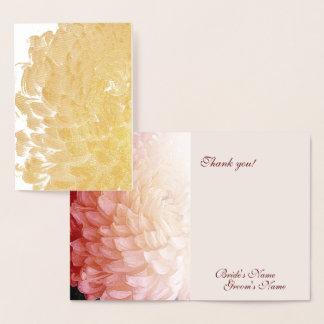 Carte Dorée Merci rose #2 de mariage de chrysanthème de