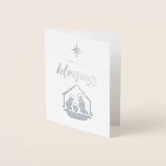 Carte Dorée Noël bénissant l'aluminium religieux de nativité