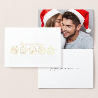 Carte Dorée Noël gravé à l'eau-forte de feuille d'or ornemente