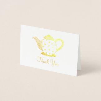 Carte Dorée Note de Merci de douche de théière de pot de thé