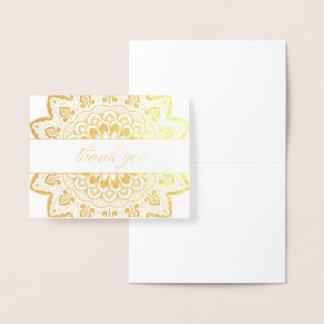 Carte Dorée Note de Merci de mandala de médaillon de feuille