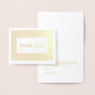 """Carte Dorée Note d'or d'aluminium de """"Merci"""" de Tout-Occasion"""
