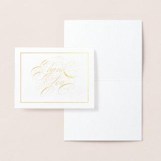 Carte Dorée Note élégante de Merci de calligraphie de feuille