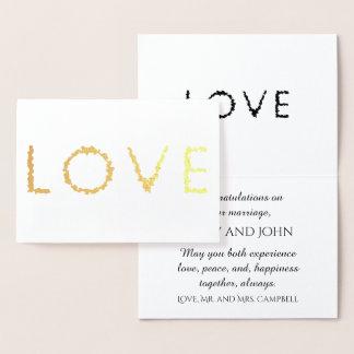 Carte Dorée Or de félicitations de mariage d'amour