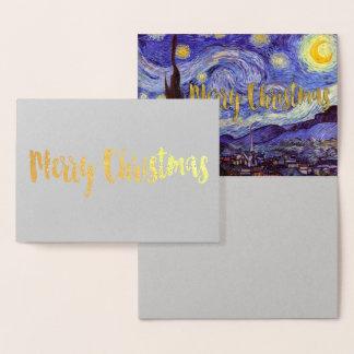 Carte Dorée Or de Joyeux Noël de nuit étoilée de Vincent van