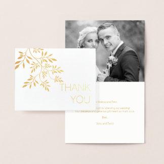 Carte Dorée Or de photo de Merci de mariage de motif de