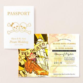 Carte Dorée Passeport de feuille d'or de mariage de pirate