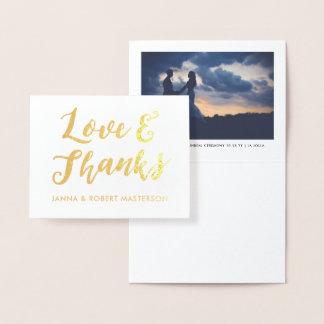 Carte Dorée Photo d'amour écrite par main et de mercis de
