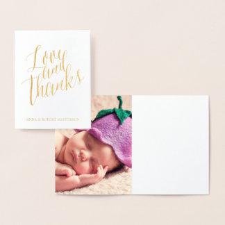Carte Dorée Photo de calligraphie d'amour et de mercis de