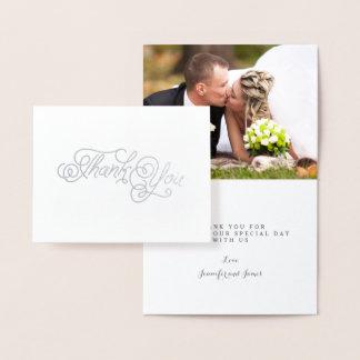 Carte Dorée Photo élégante de Merci de mariage de manuscrit