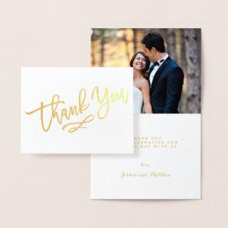 Carte Dorée Photo en lettres de Merci de mariage de main de