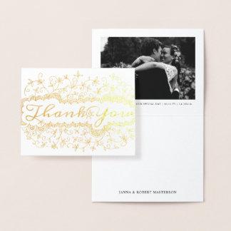 Carte Dorée Photo florale décorative de Merci de vigne de