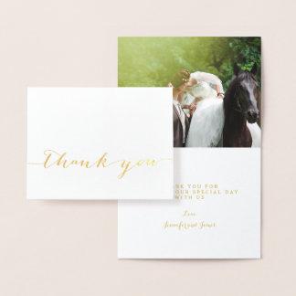 Carte Dorée Photo simple de Merci de mariage de manuscrit de