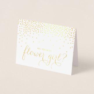 Carte Dorée Point de confettis de feuille d'or vous serez ma