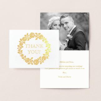 Carte Dorée S'est levée la photo de Merci de mariage de
