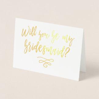 Carte Dorée Vous serez ma typographie de demoiselle d'honneur