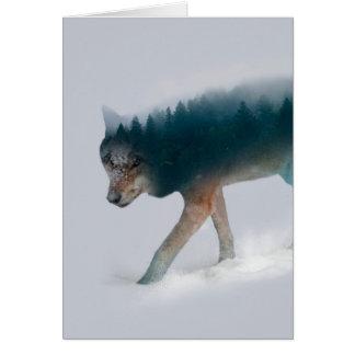 Carte Double exposition de loup - forêt de loup - loup