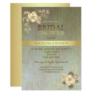 Carte Douche nuptiale Boho vintage fascinant d'or floral