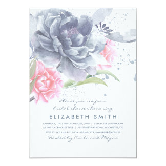 Carte Douche nuptiale d'aquarelle florale rose bleue