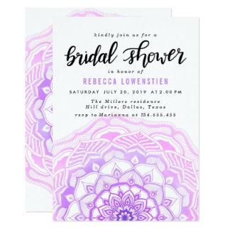 Carte Douche nuptiale de Bohème de mandala rose