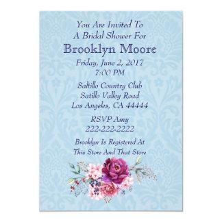 Carte Douche nuptiale de bouquet floral de rose et de