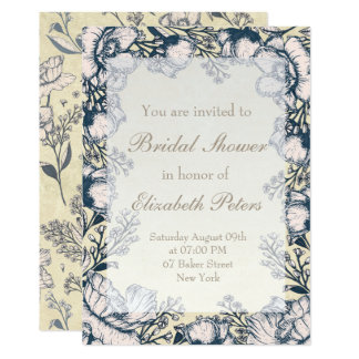 Carte Douche nuptiale de mariage floral vintage rustique