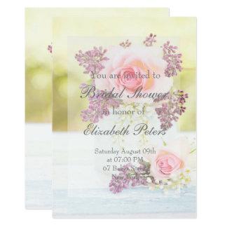 Carte Douche nuptiale de mariage vintage de lilas et de