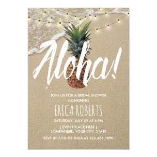Carte Douche nuptiale de plage d'ananas de Hawaïen Aloha