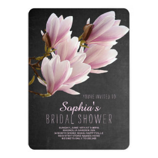 Carte Douche nuptiale de tableau rose de magnolia