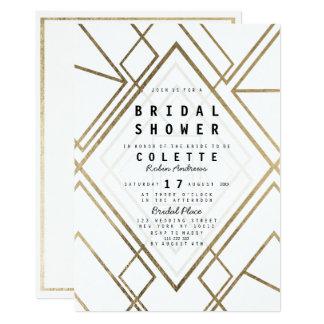 Carte Douche nuptiale d'or blanc géométrique moderne de