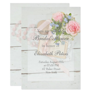 Carte Douche nuptiale editable de fleur vintage