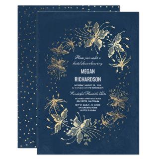 Carte Douche nuptiale élégante florale d'or et de marine
