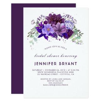 Carte Douche nuptiale élégante florale pourpre violette