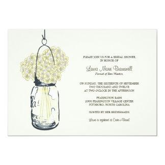 Carte Douche nuptiale ene ivoire de pot d'hortensia et