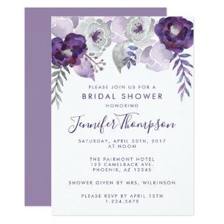 Carte Douche nuptiale florale d'aquarelle pourpre et