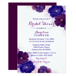 Carte Douche nuptiale florale d'aquarelle violette