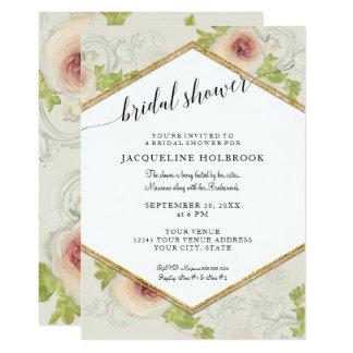 Carte Douche nuptiale florale de calligraphie moderne