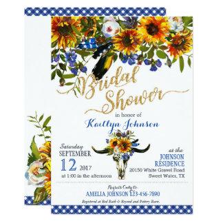 Carte Douche nuptiale florale de crâne de vache à Boho