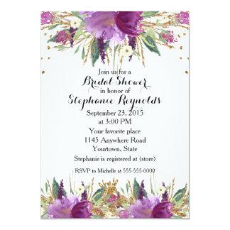 Carte Douche nuptiale florale de ressort d'améthyste