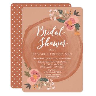 Carte Douche nuptiale florale rustique en bois de Brown