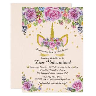 Carte Douche nuptiale honorant, licorne, rose, fleurs