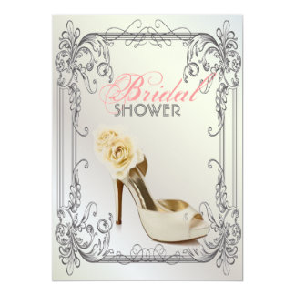 Carte Douche nuptiale vintage blanche de remous élégants