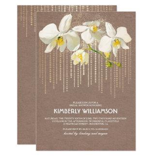 Carte Douche nuptiale vintage d'orchidées de