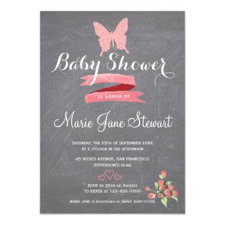 Carte Douche rose de bébé de ruban de papillon de