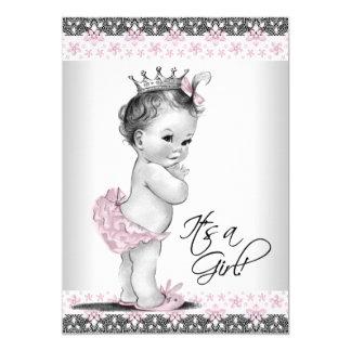 Carte Douche rose et grise vintage de bébé