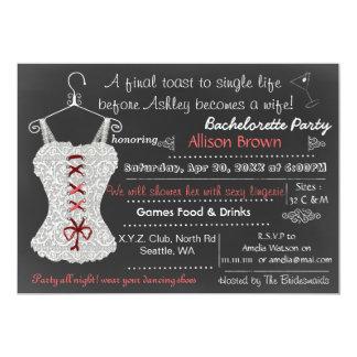 Carte Douche rouge Bachelorette de lingerie de dentelle