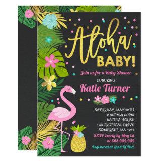 Carte Douche tropicale d'invitation de baby shower de