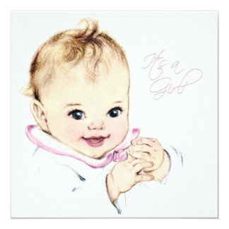 Carte Douche vintage de bébé de roses pâles